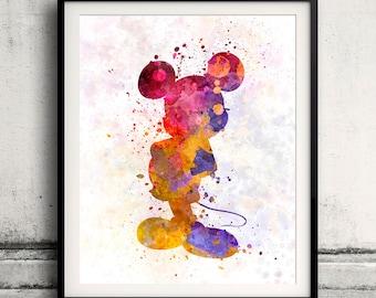 Mickey Mouse Fine Art Print Glicee Disney Cartoon Poster Decor Home Watercolor Nursery Gift Room Children's Wall Art Illustration - SKU 0797