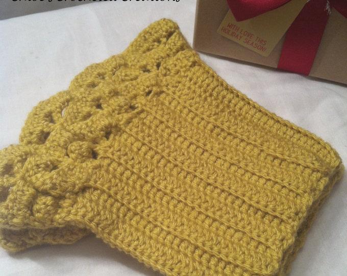 Crocheted Ruffled Boot Cuffs, Boot Cuffs, Women's Boot Cuff