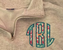 Monogram Applique Pullover Quarter Zip Sweatshirt- Lilly Pulitzer fabric available Sorority Letters