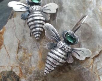 Bee Earrings, Sterling Queen Bee Gemstone Earring, Sterling Bee Earrings, Bejeweld Bee Earrings, Gemstone Bee Earrings, choose the Gem