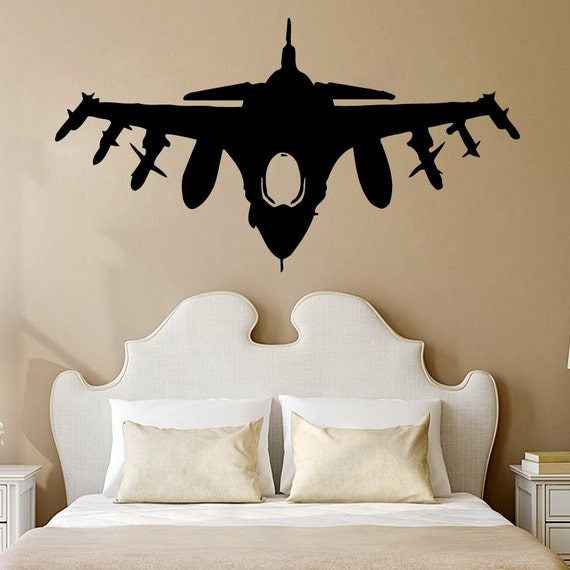 Wall decals plane airplane military aircraft vinyl decal for Aviation wall mural