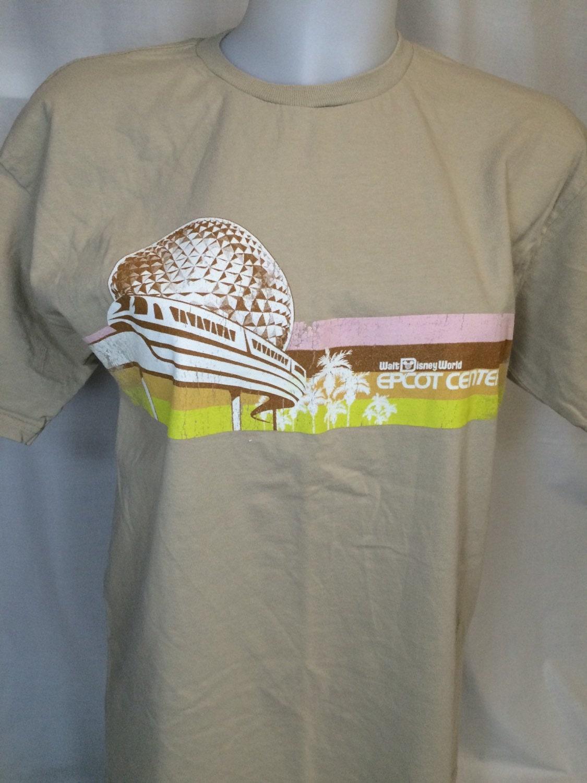 Epcot Center T Shirt Medium Monorail And Spaceship Earth Tan