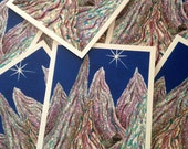 Stained Glass Mountains; Lone Star; Midnight blue Sky;Evening Mountain Landscape; Nestled Cabin; Original Art Card