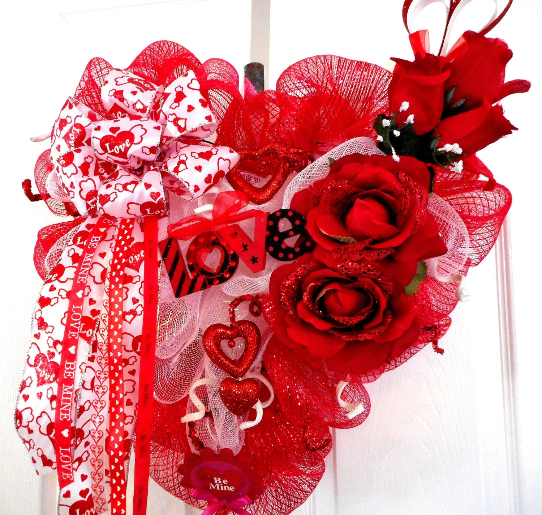 Valentine s day deco mesh wreaths by mimissparkleddesigns on etsy