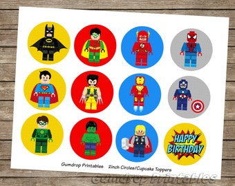 30%OFF Lego Superhero 2 Inch Circles Cupcake Topper Pick Images ~ Instant Download ~ Boys Super Hero Birthday Printable Image Sheet