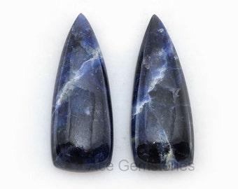 Sodalite Loose Gemstone Cabochon Fancy Cut Pair 13x35 mm