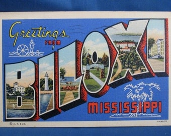 Vintage Linen Big Letter Postcard - Biloxi Mississippi