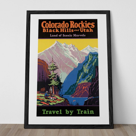 Art Deco National Park Posters: COLORADO ROCKIES Poster USA Travel Poster 1920's National