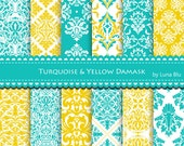"Damask Digital Paper: ""Turquoise and Yellow Damask "" turquoise digital paper for invitations, cardmaking, stationary, crafts, scrapbooking"