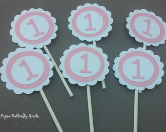 Number One cupcake toppers, 1st birthday cupcake toppers, Pink and white, Girl Decorations, Baby Girl Party Favors