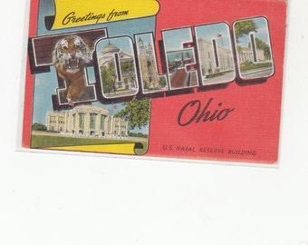 """Large Letter Linen Postcard """"Greetings From Toledo Ohio"""""""