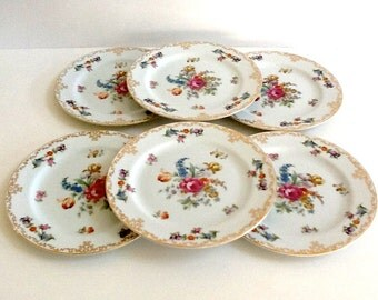 Noritake White Floral Plates, Set of 6, Noritake Dresdoll, Occupied Japan, Salad or Dessert Plates