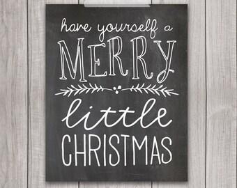 75% OFF SALE - 8x10 Christmas Printable, A Merry Little Christmas, Holiday Art Print, Chalkboard Print, Holiday Art, Christmas Decor