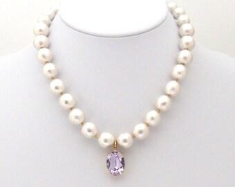 White Cotton Pearl with Light Purple Swarovski Crystal Necklace, Swarovski Pendant, Large Pearl Necklace, Statement Necklace,Bridal Necklace