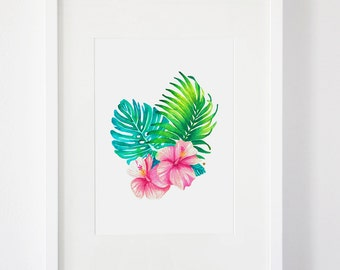 SALE || Watercolour Tropical Leaves and Flowers