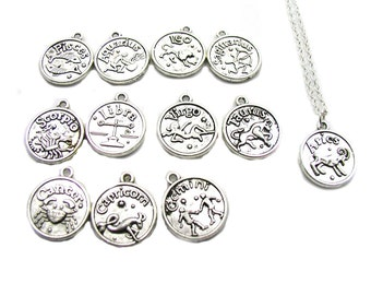 Zodiac Necklace, Astrology Necklace, Zodiac Charm Jewelry, Silver Zodiac Necklace, Silver Zodiac Jewelry, Jewelry Gift, Birthday Gift