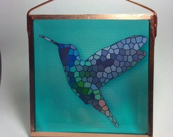 Sun catcher.  Hummingbird glass sun catcher.  Glass