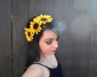 Sunflower Headband - Flower Headband - Flower Crown - Hair Accessories - Hippie - Music Festivals - Raves