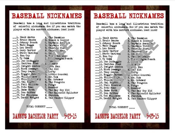 Nicknames: Baseball Nicknames Printable Matching GameCustom Digital