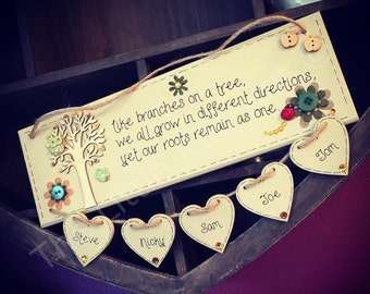 Bespoke/personalised 'like branches on a tree...' handmade, wooden family plaque with FIVE HEARTS