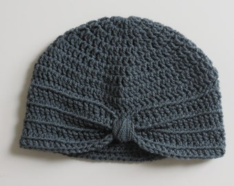 Handmade Crochet Baby Turban Style Hat in Graphite (Dark Grey) Made to order,Many Colours Available,great photo prop!Baby Gift, Baby Showers