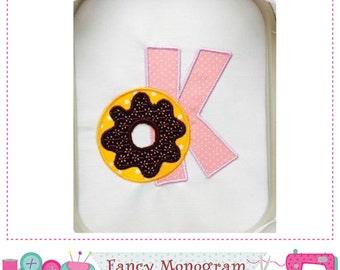 Donut Monogram K applique,Donut Letter K applique,K,Font K, Donut design,Birthday Applique,K,Donut,Machine Embroidery 01