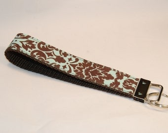 Key Fob - Mint and Brown Filigree