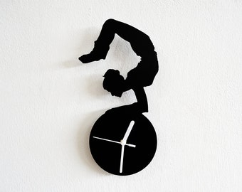 Yoga Positions Silhouette - Wall Clock