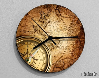World map clock etsy vintage world map compass wall clock gumiabroncs Choice Image