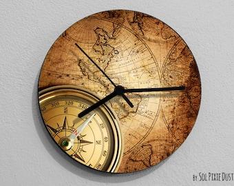 Vintage World Map Compass-Wall Clock