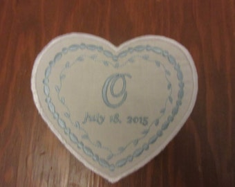 Heart shaped wedding dress label.