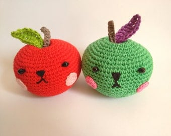 Handmade crochet amigurumi apple - READY TO SHIP -