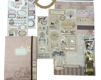 Scrapbooking Kit with Embellishments, Washi Tape and Many Die Cut Shapes (Brown)