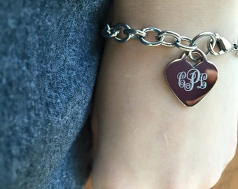 Heart Charm Stainless Steel Curly Monogrammed Engraved Bracelet Anklet