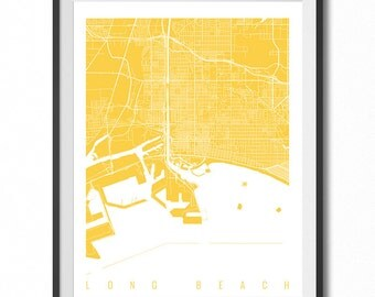 LONG BEACH Map Art Print / California Poster / Long Beach Wall Art Decor / Choose Size and Color
