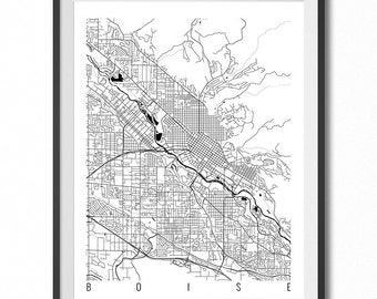 BOISE Map Art Print / Idaho Poster / Boise Wall Art Decor / Choose Size and Color