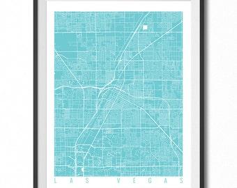 LAS VEGAS Map Art Print / Nevada Poster / Las Vegas Wall Art Decor / Choose Size and Color