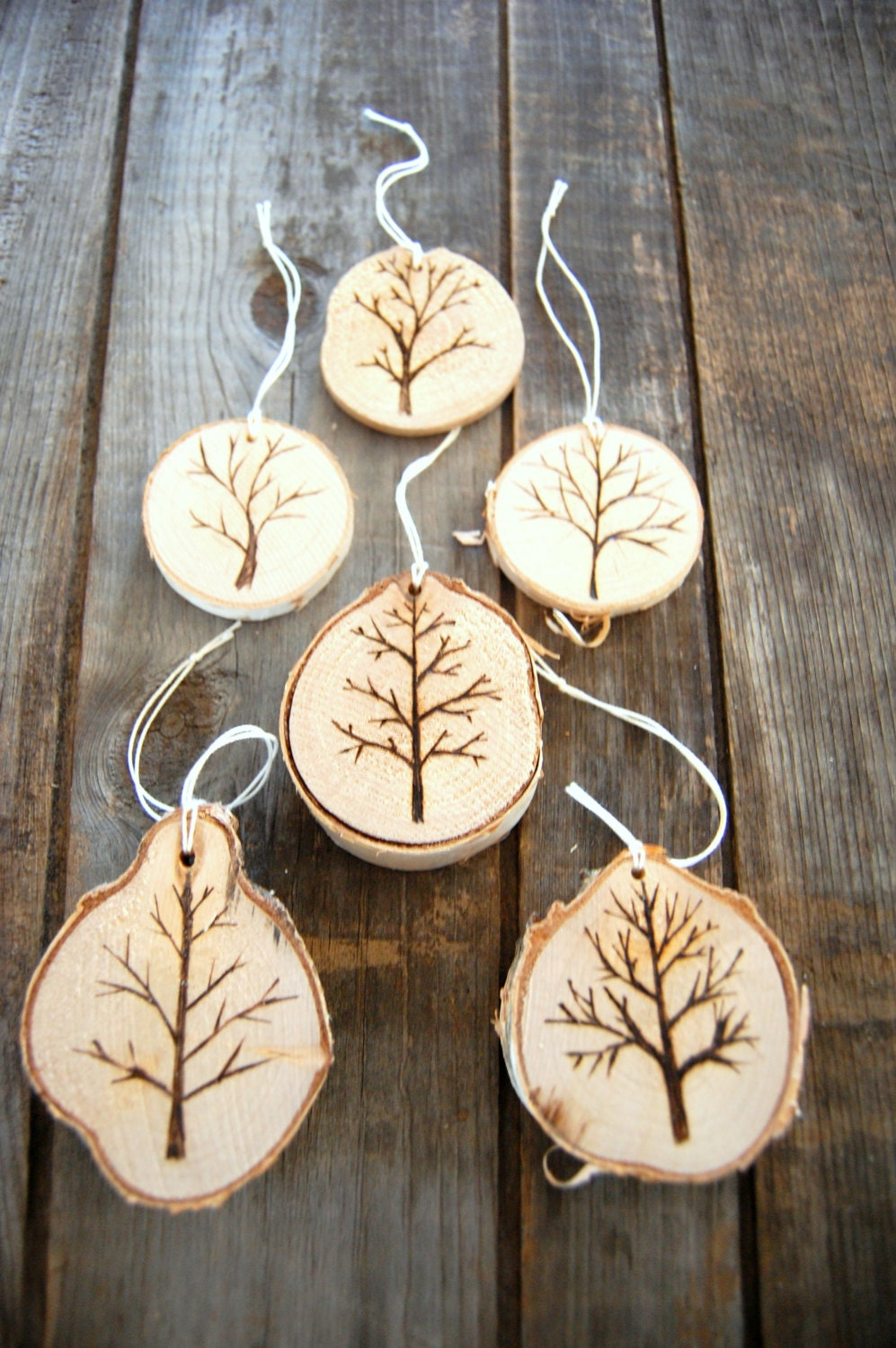 Wood burned christmas tree ornaments bare by reeckerson