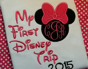 My First Disney Trip T-shirt, personalize with your monogram and the year!  Minnie mouse,  pink bow and embroidery, short sleeve