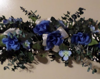 Decorative Blue Flower Swag! Dried floral eucalyptus Wall Swag!