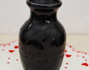 Black on Black Signed Navajo Vase