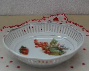 C S Bavaria Germany Porcelain Pierced Bowl /Trinket Dish