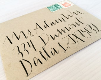 "Wedding Calligraphy Envelope Addressing / Hand lettered / Custom Wedding Address ""Joey"" Style"