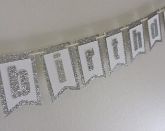 "White-Silver-Glitter ""Happy Birthday"" Mini Banner"