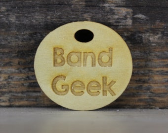 pendant, wood, necklace, keychain,band geek, geek, band, music, instrument, gift