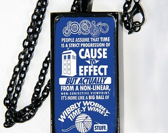 "Doctor Who ""Time-y Wime-y"" quote necklace"