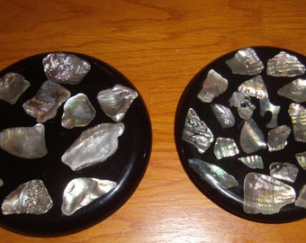 Two Vintage Abalone Shell Trivets Handmade Hot Plates 1 by Shanty Giftshop