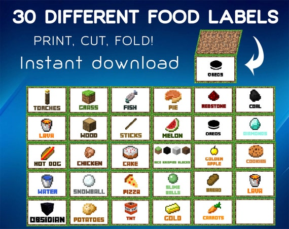 Inventive image regarding minecraft food labels printable