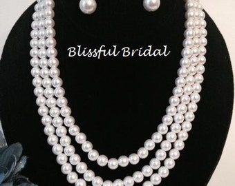 Statement Pearl Wedding Necklace, Strand Pearl Bridal Necklace, Off White Pearl Necklace Set, Pearl Crystal Bridal Necklace & Earring Set