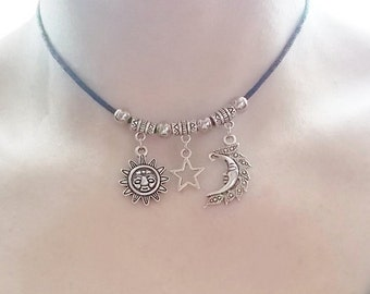 sun moon and star choker necklace - handmade jewellery - silver charm choker - black choker necklace - gift for her